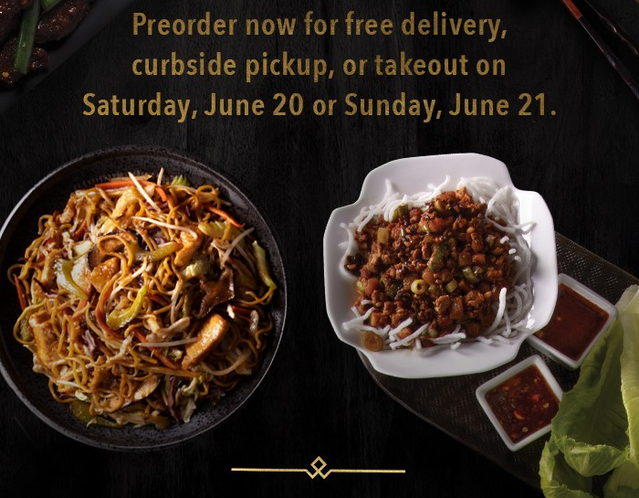 Preorder now for free delivery, curbside pickup, or takeout on Saturday, June 20 or Sunday, June 21.